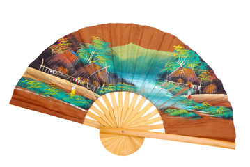 Chinese decorative fan on a white