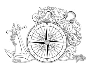Compass with anchor and octopus