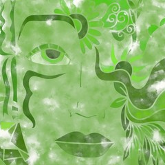 abstract with a green face