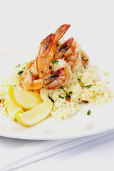 Shrimps on a bed of rice