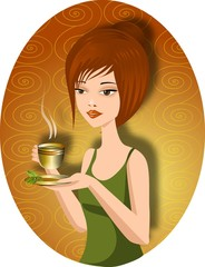 kobieta pijąća zieloną herbatę