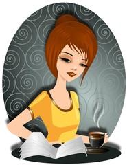 Ładna kobieta z filiżanką gorącej kawy czytająca prasę.