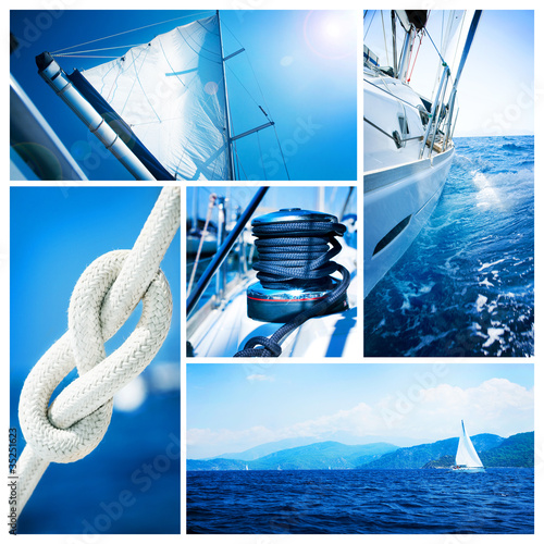 Yacht collage  Sailboat  Yachting concept