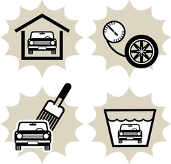 Lot of car service icon, vector illustration
