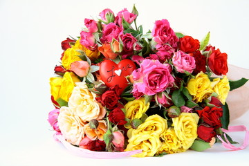 bouquet of multicolored roses, small sprays