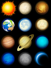 Wall Mural - Solar system icons