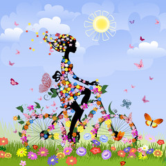Recess Fitting Floral woman Girl on bike outdoors in summer