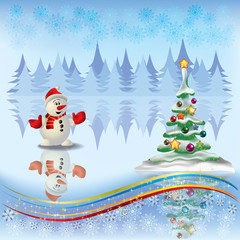 Christmas greeting with tree and snowman