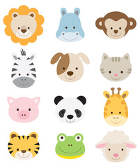 Photo sur Aluminium Zoo Baby Animal Faces Set