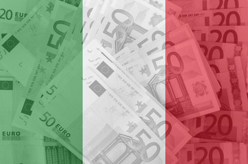 flag of Italy with transparent euro banknotes in background