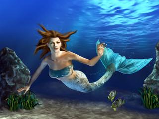 Aluminium Prints Mermaid Swimming Mermaid
