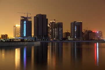 Dubai Business Bay at night, United Arab Emirates