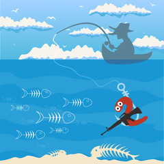 The man by a boat fishes. A vector illustration