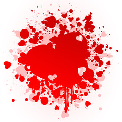 Red stain in the form of heart. A vector illustration