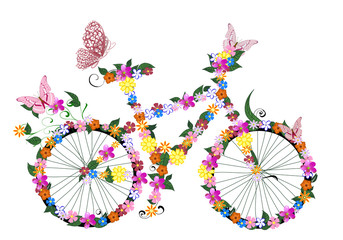 Poster Floral woman bike with flowers