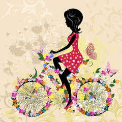 Recess Fitting Floral woman Girl on bike grunge
