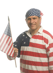 patriotic American man wearing flag shirt with national flag