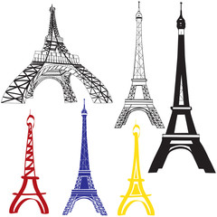 Set of Eiffel Towers images