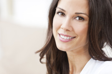 Happy Smiling Beautiful Brunette Woman
