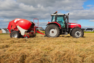 Fototapete - tractor collecting haystack in the field