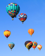 Poster Montgolfière / Dirigeable hot air balloons over blue sky