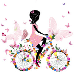 Foto op Plexiglas Bloemen vrouw Girl on a bicycle with a romantic butterflies