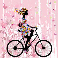 Recess Fitting Floral woman Girl on bike grunge romantic