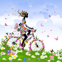 Foto op Plexiglas Bloemen vrouw Girl on bike outdoors in summer