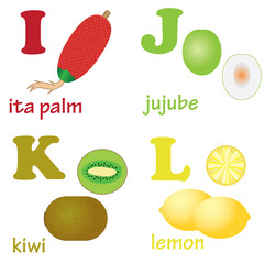 Alphabet letters I-L with fruits.