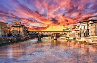 Foto op Textielframe Candy roze HDR...Tramonto a Firenze....Ponte Vecchio