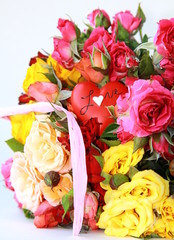 bouquet of multicolored roses, small sprays, with a heart