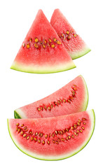 isolated watermelon pieces. Two images with slices of watermelon fruit isolated on white background