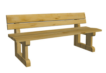 Wooden park bench, 3d illustration