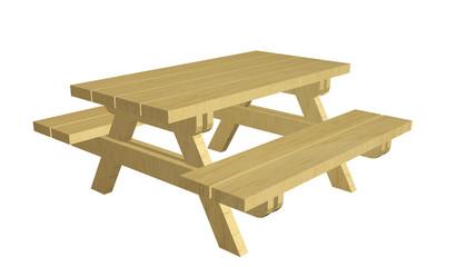 Wooden picnic table, 3d illustration