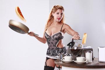Multitasking french maid