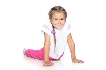 Beautiful Little Girl on white floor