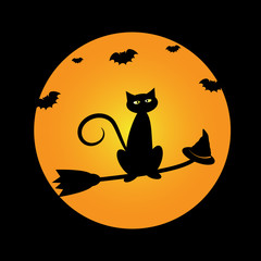 Halloween Cat on Broom