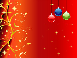 Red Christmas theme vector background with floral ornaments
