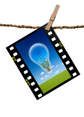 The image blub lamp and grass meadow in transparency films