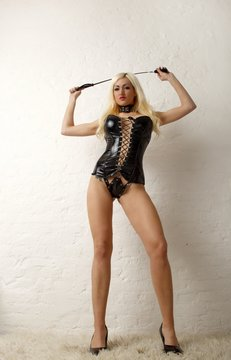 blond domina with long legs