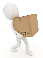 3D render of a man carrying a box