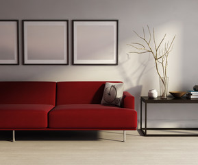 Modern interior, red sofa, frames table on wood floor
