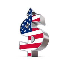 Dollar Symbol Arrow Up - United States Flag Texture