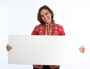 Smiling woman in red holding an horizontal blank sign