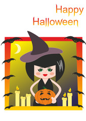 Witch, pumpkin, candles and bats. Halloween. Cartoon