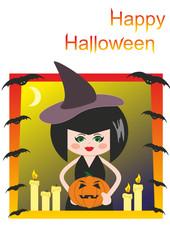 Witch, pumpkin, candles and bats. Halloween. Cartoon