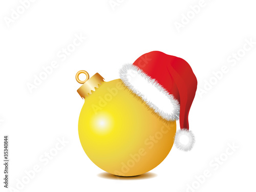 gelbe weihnachtskugel mit weihnachtsm tze stockfotos und lizenzfreie vektoren auf. Black Bedroom Furniture Sets. Home Design Ideas