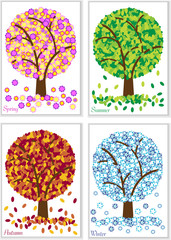 creative cards with four season tree