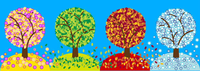 color picture of four season trees