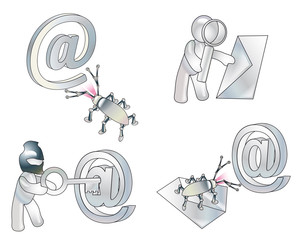 Attack of virus or spy program on an e-mail. Conception